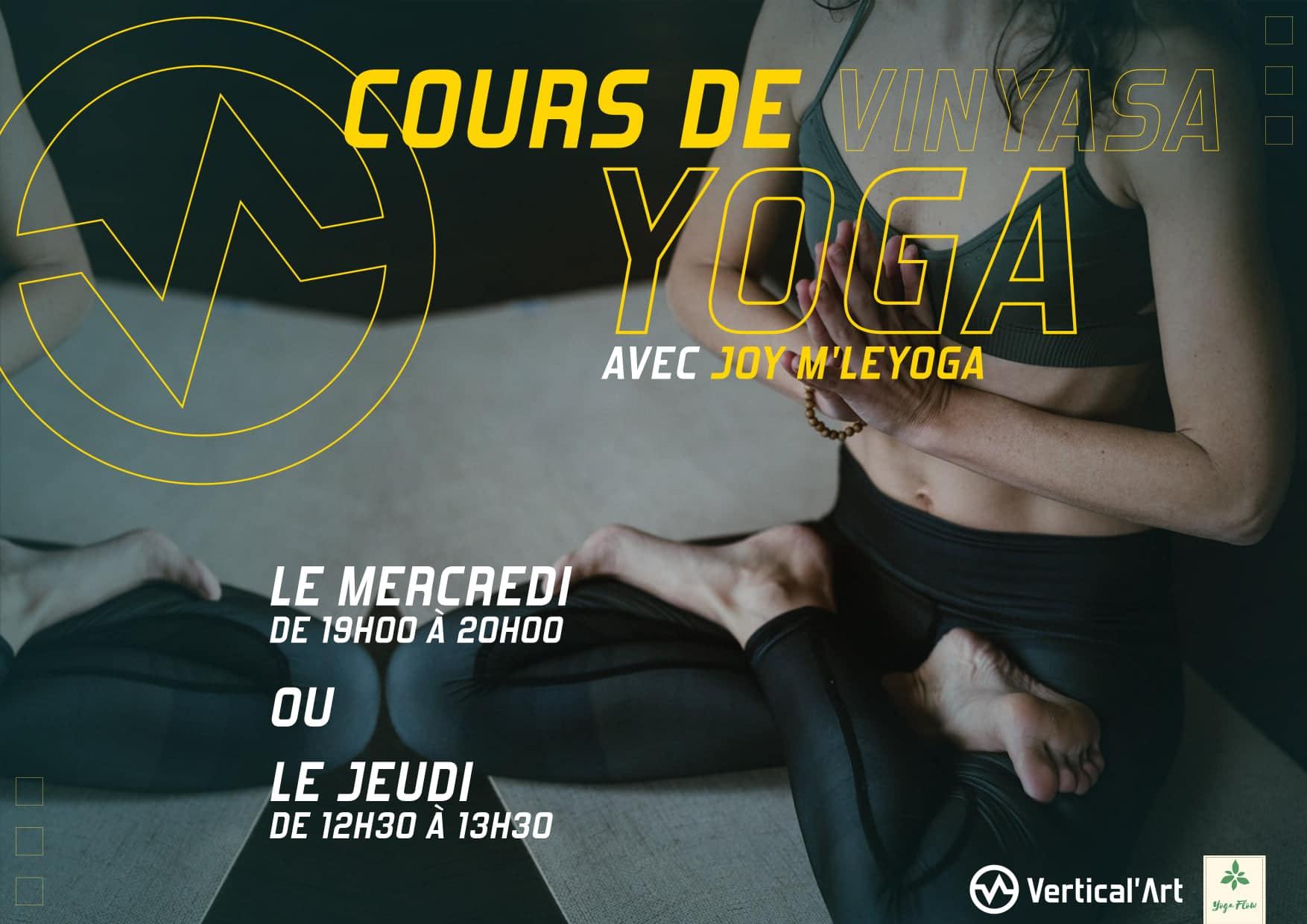 cours de yoga vinyasa avec Joy M'Leyoga, nouveaux créneaux dans votre salle Vertical'Art Toulon pour se détendre avant ou après une bonne session de grimpe