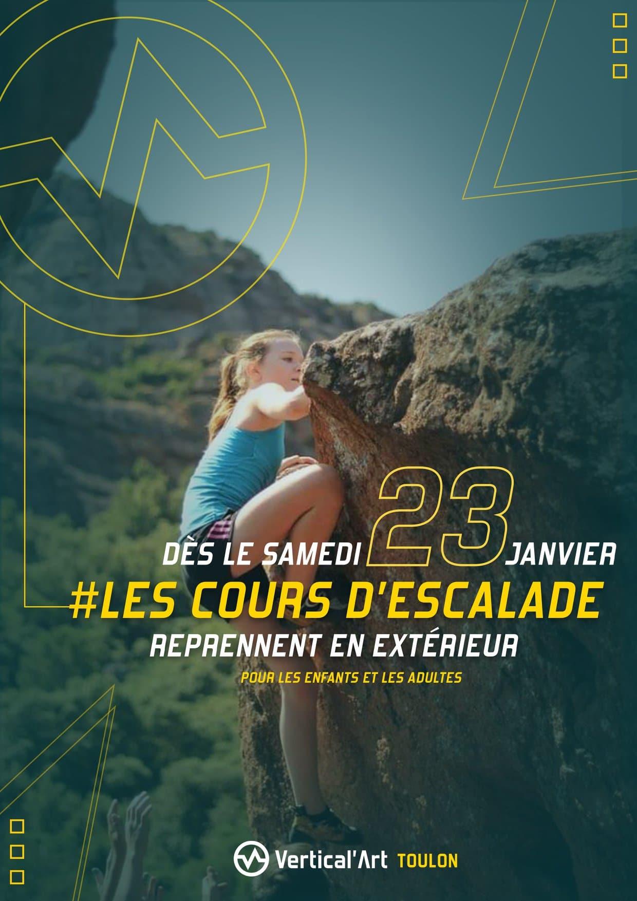 Les cours d'escalade reprennent en extérieur dès le samedi 23 janvier, les fiches d'inscription vous ont été envoyées par mail pour participer à nos sorties sportives outdoor