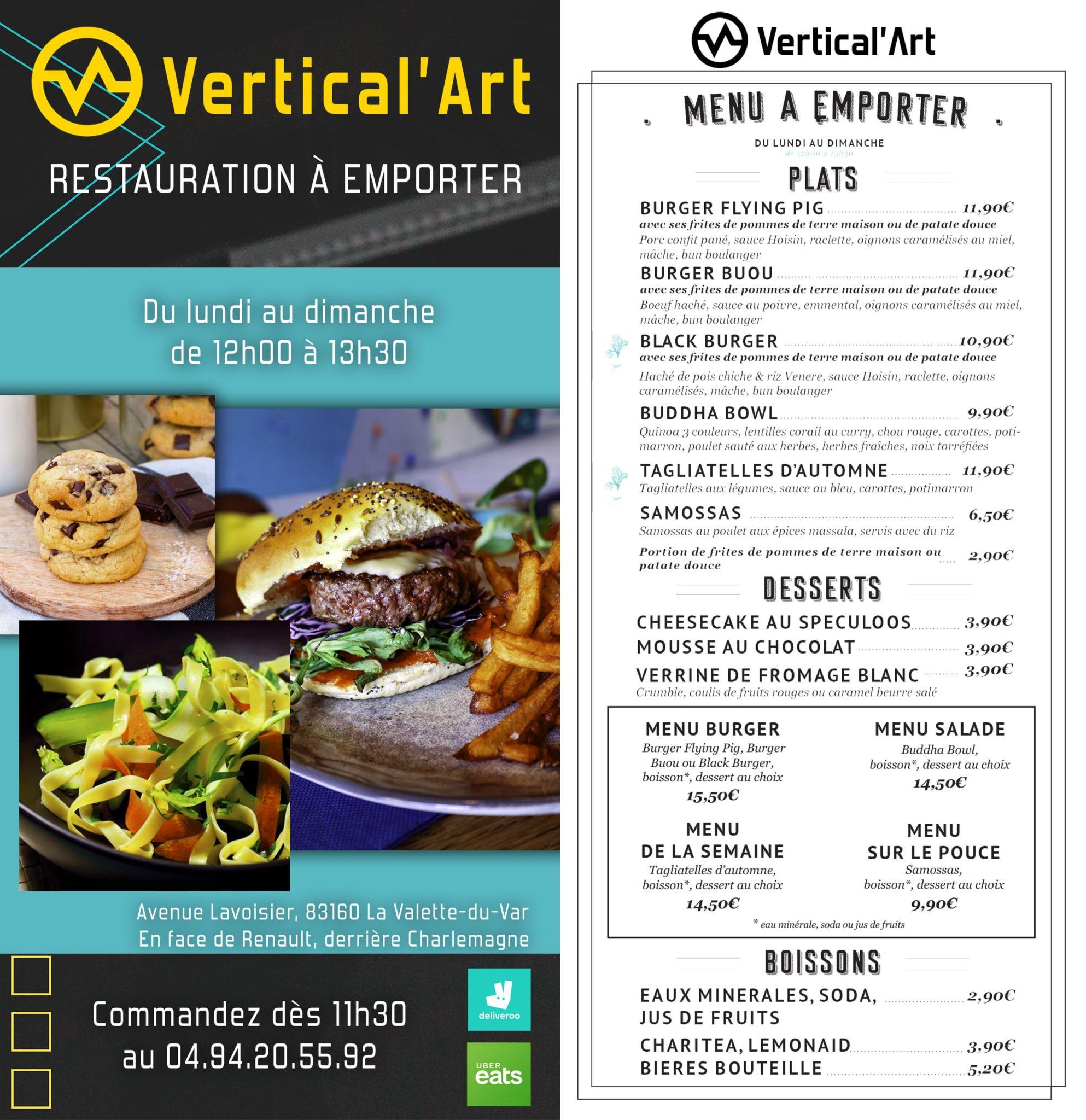 Nouvelle carte de restauration à emporter ou livrer à Vertical'Art Toulon