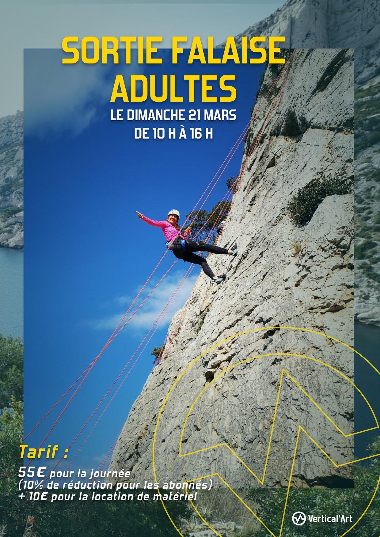 Réservez votre journée du dimanche 21 mars pour une sortie adultes en falaise de 10h à 16h