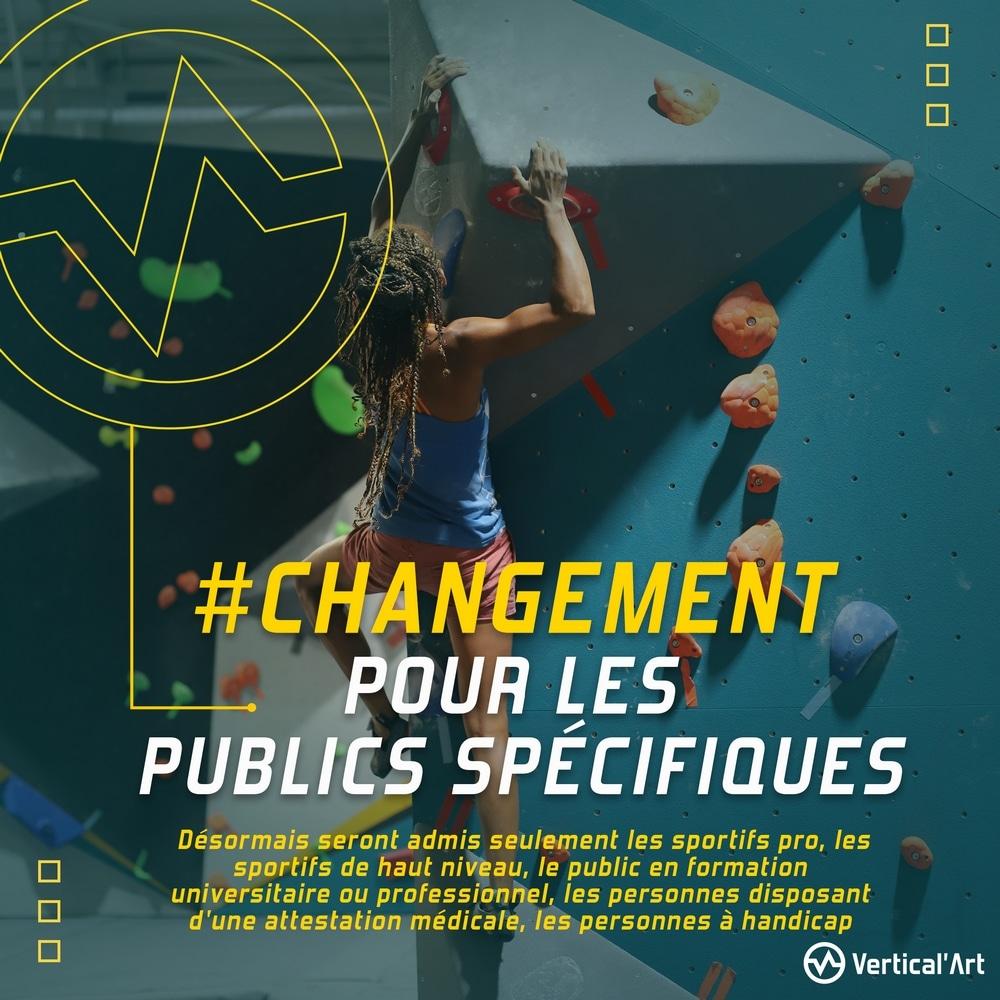 Changement pour les publics spécifiques à Vertical'Art Toulon, liste mise à jour