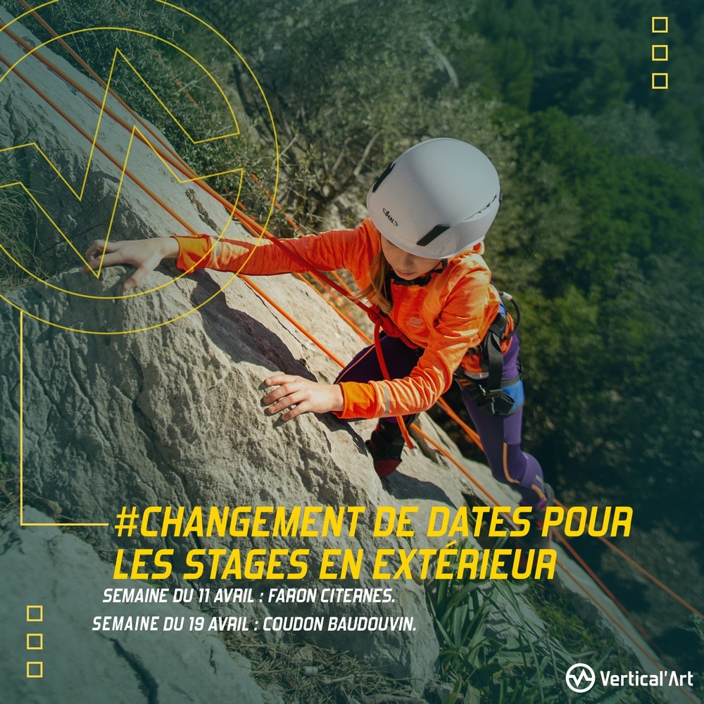 Stages d'escalade enfants en falaise pendant les vacances d'avril, du 13 avril au 23 avril 2021, sorties encadrées par nos moniteurs diplômés d'Etat
