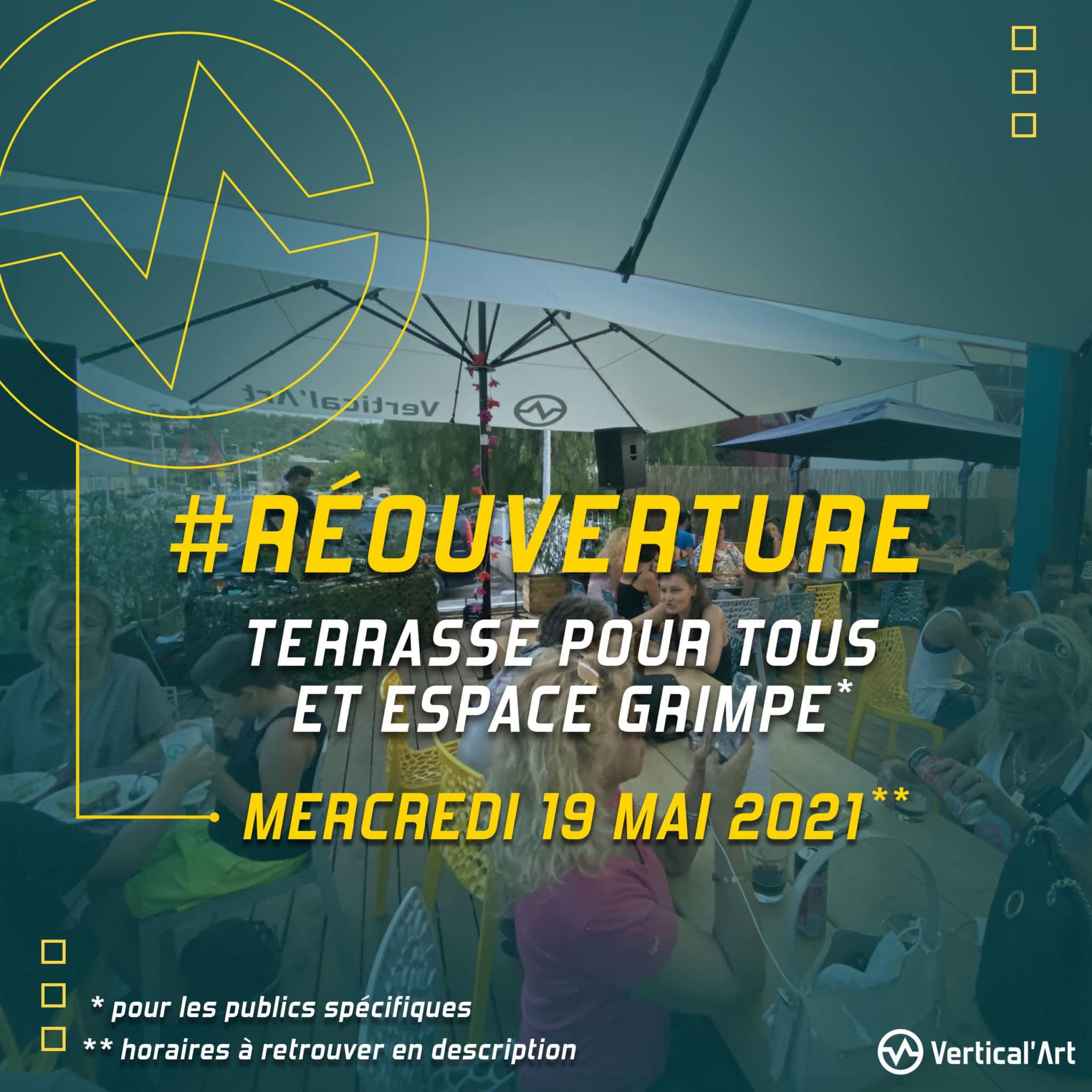 réouverture terrasse Vertical'Art Toulon et accès de l'espace grimpe ouvert aux publics spécifiques