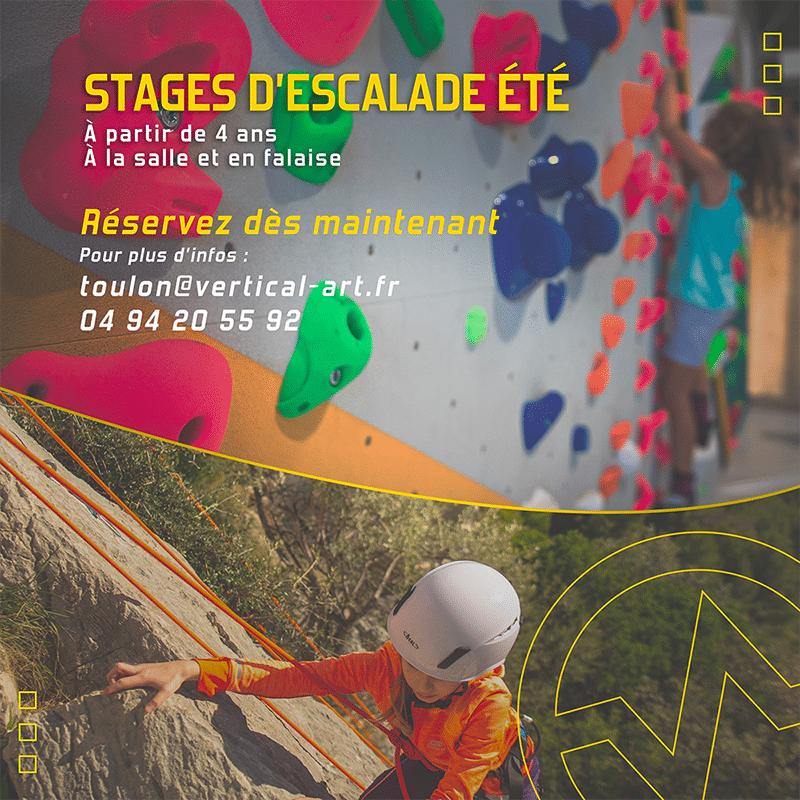 Stages d'escalade été 2021 à Vertical'Art Toulon, pour les enfants et les adolescents. Réservez dès maintenant !