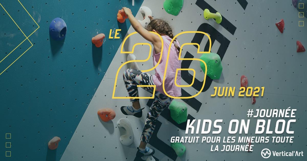 Kids on bloc à Vertical'Art Toulon le samedi 26 juin, journée gratuite pour tous les mineurs