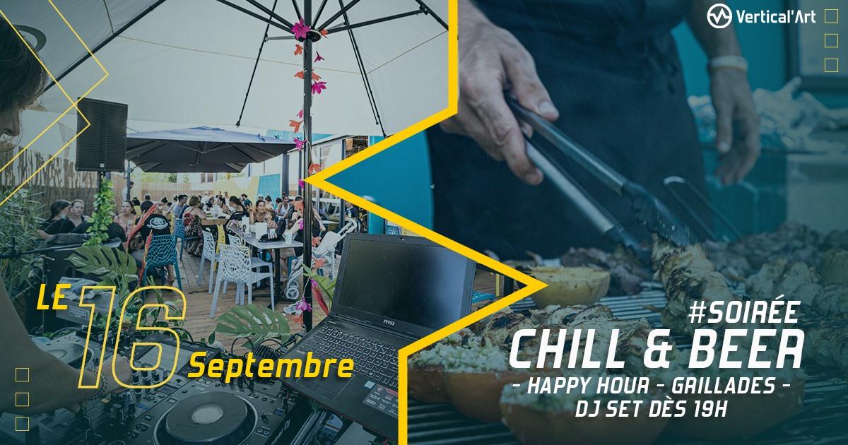 Chill and beer de rentré ce jeudi 16 septembre à Vertical'Art Toulon, happy hour, grillades et DJ set dès 19h