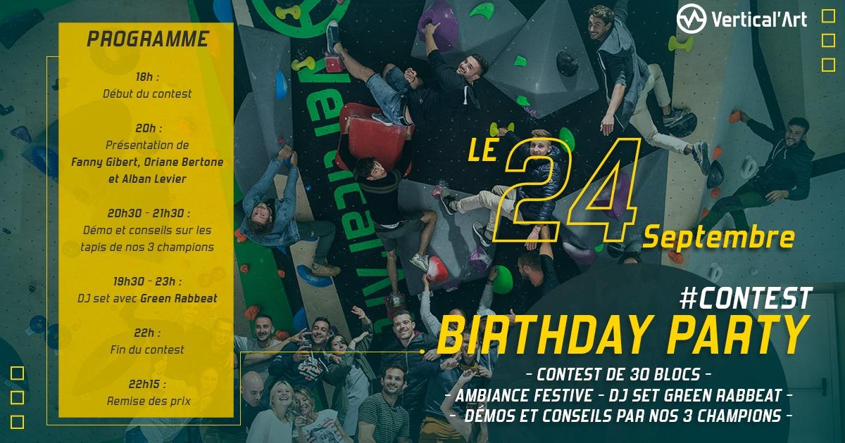 Birthday Party vendredi 24 septembre à Vertical'Art Toulon pour célébrer les 1 an de votre salle d'escalade préférée, au programme de cette soirée anniversaire : contest de 30 blocs, ambiance festive avec la présence du DJ Green Rabbeat, démos et conseils de 3 champions de bloc