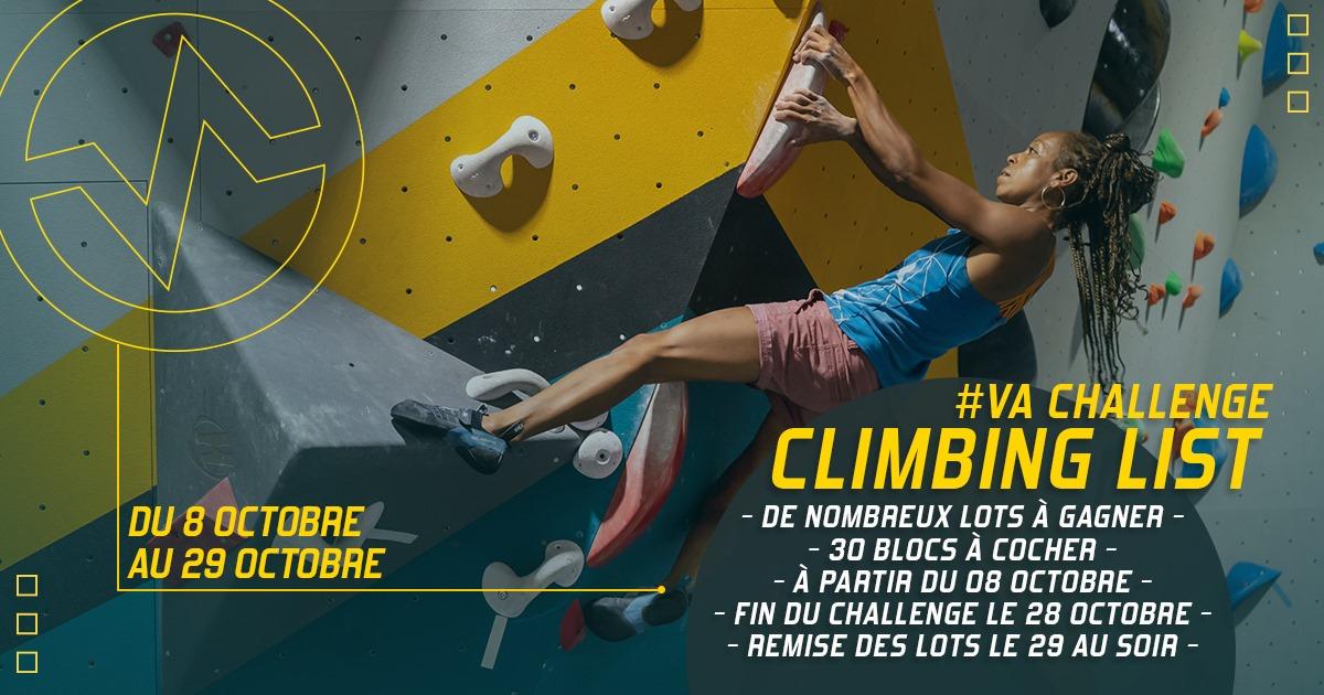 VA Challenge Climbing List du 8 au 28 octobre à Vertical'Art Toulon, 30 blocs à cocher, de nombreux lots à gagner