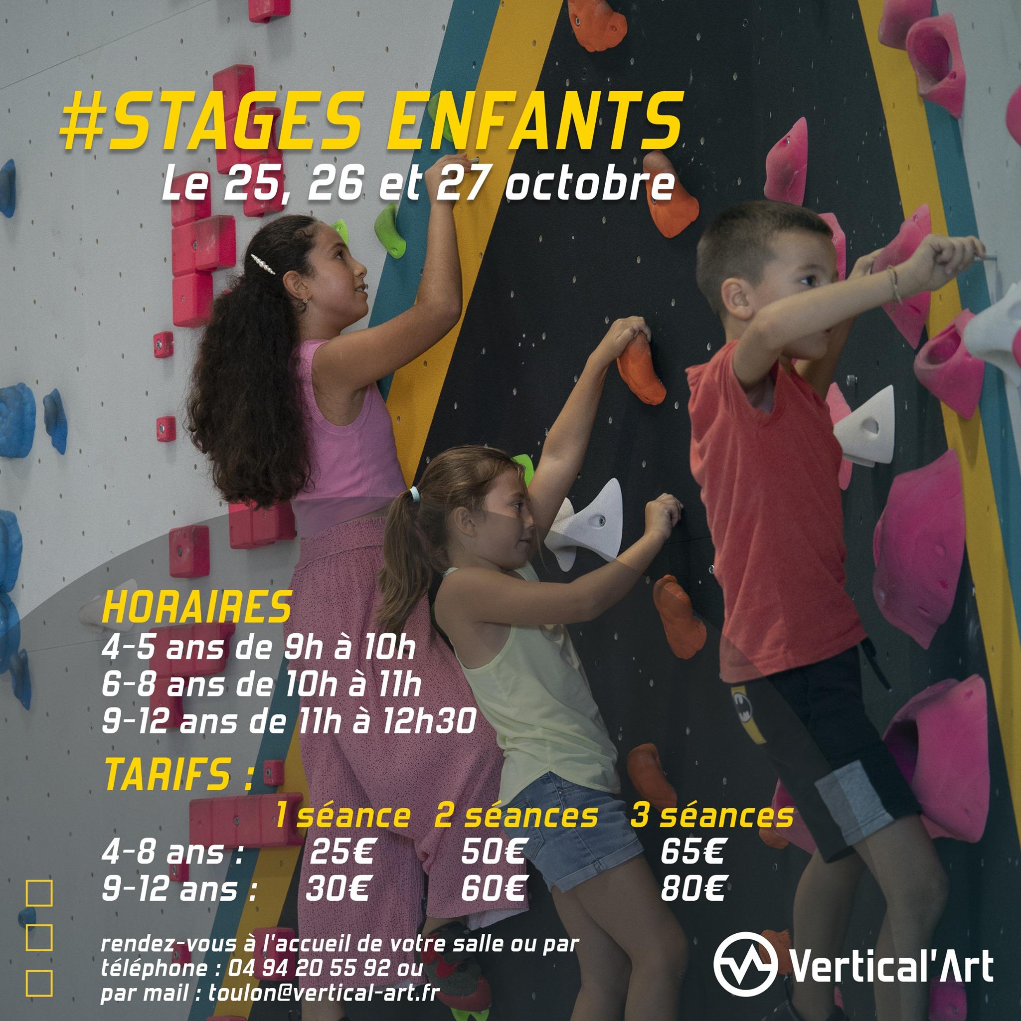 Stages enfants vacances de la Toussaint à Vertical'Art Toulon, les 25, 26 et 27 octobre, inscriptions ouvertes